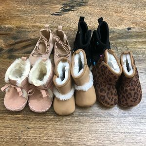 Baby girl boot/ shoe lot 0-3 month old navy + one